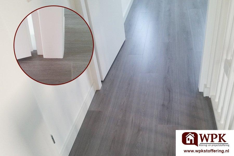 Grijze pvc vloer met houtstructuur wpk stoffering gouda